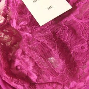 Apt. 9 Intimates & Sleepwear - Fuchsia Dark Pink Lace Underwire Bra
